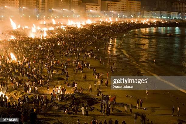 Feast of St John's fire on the beach Riazor and Orzan of A Coruna Galicia region 23th June 2009