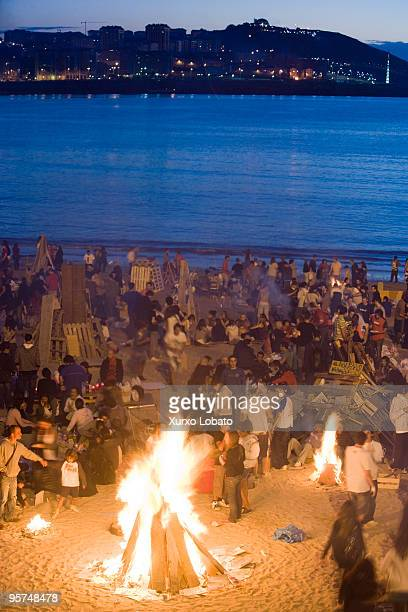 Feast of St John's fire on the beach Riazor and Orzan of A Coruna Galicia region 23th June 2009