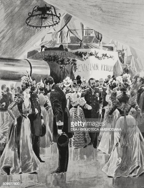 Feast on the Brennus ship during Umberto I and Margherita of Savoy's journey in Sardinia Italy drawing by Adriano Minardi photographs of Ettore...
