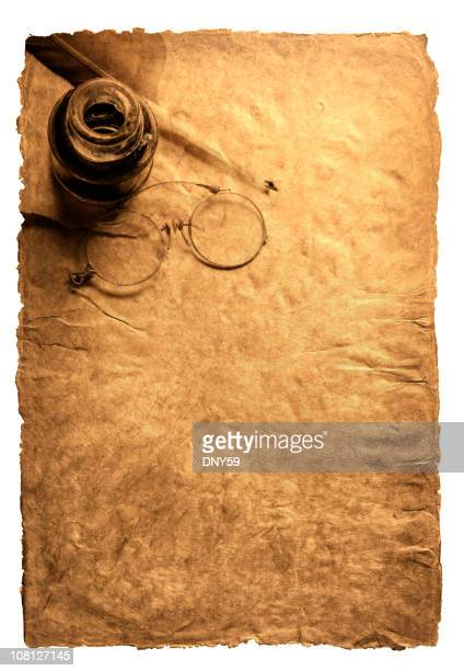 feather quill & inkwell on parchment with antique glasses, sepia toned - ancient stock pictures, royalty-free photos & images