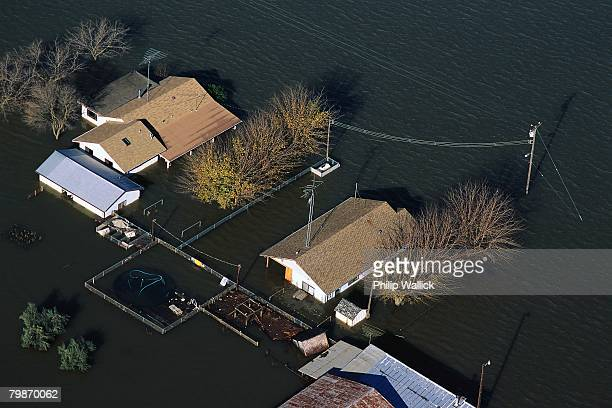 feather river flooding homes - california flood stock photos and pictures