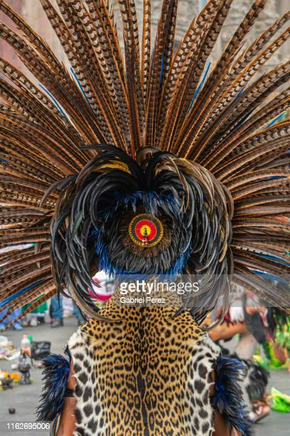 a feathered aztec headdress - headdress stock pictures, royalty-free photos & images