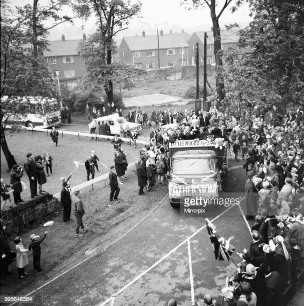 Featherstone Rovers Rugby League Team victory parade after winning the Challenge Cup in May 1967 Featherstone West Yorkshire England Rovers defeated...