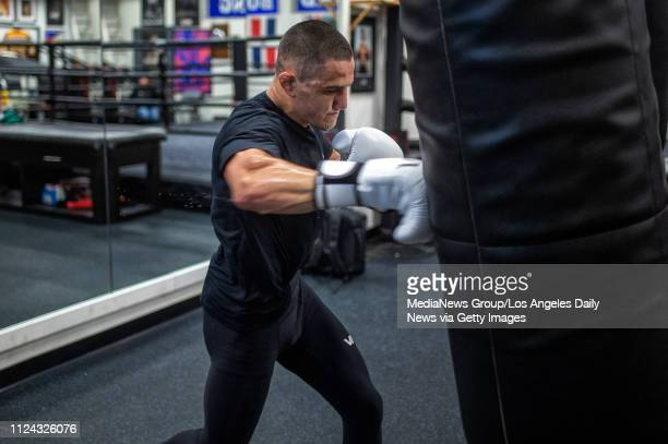 MMA featherweight Aaron Pico trains with boxing coach Freddie Roach at Roach's Wild Card Boxing Club in Hollywood Thursday Jan 10 2019