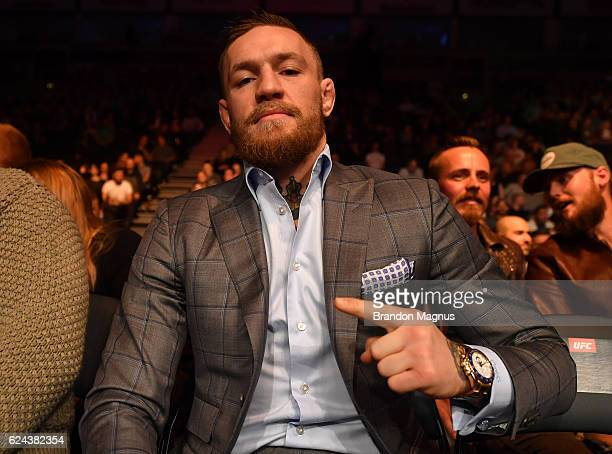UFC featherweight and lightweight champion Conor McGregor of Ireland attends the UFC Fight Night at the SSE Arena on November 19 2016 in Belfast...