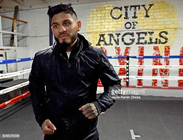 Featherweight boxer Abner Mares in the ring during a media day workout at the City of Angels Boxing Club for his upcoming fight against Jesus Cuellar...