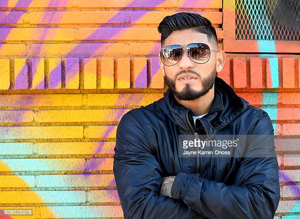 Featherweight boxer Abner Mares stands outside the City of Angels Boxing Club during a media day workout for his upcoming fight against Jesus Cuellar...