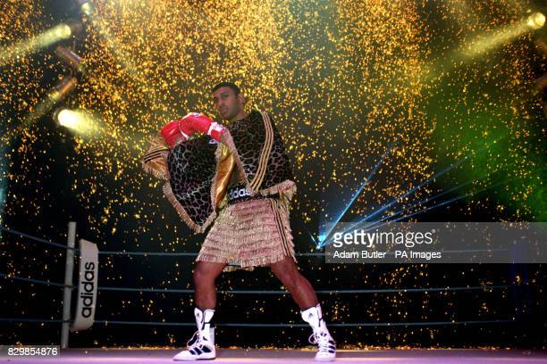 Featherweight boxer Prince Naseem Hamed launching his new Adidas sponsorship deal in his usual flamboyant style in Brixton south west London Under a...