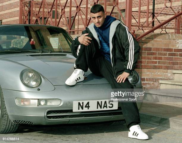 Featherweight boxer Prince Naseem Hamed of Great Britain with his sportscar circa February 1997