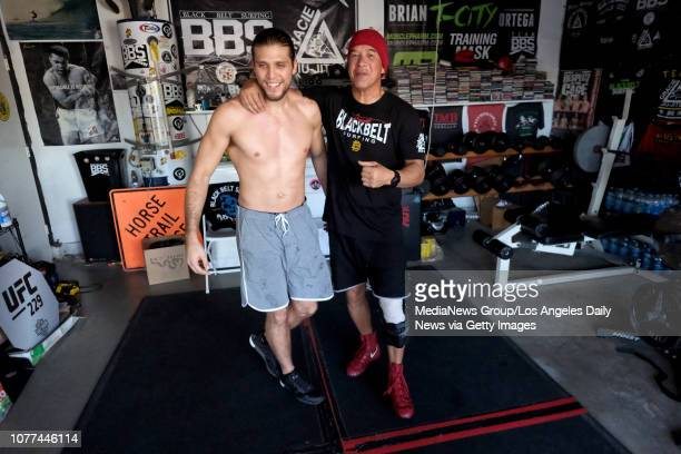 UFC featherweight Brian Ortega works out with coach James Lurhsen in Lurshen's Harbor City garage Monday Nov 26 2018 Ortega will fight Max Holloway...