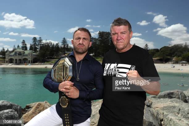 Featherweight Champion Alex Volkanovski and Joe Lopez pose at Cottesloe Beach on February 25 2020 in Perth Australia