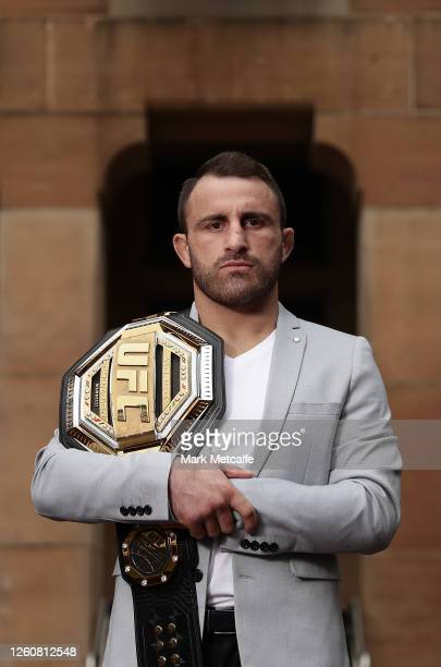 UFC featherweight champion Alex Volkanovski poses with his UFC belt on July 28 2020 in Sydney Australia