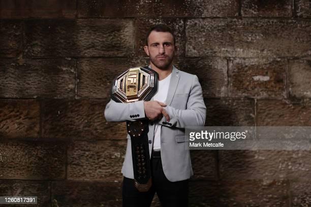 Featherweight champion Alex Volkanovski poses with his UFC belt on July 28, 2020 in Sydney, Australia.