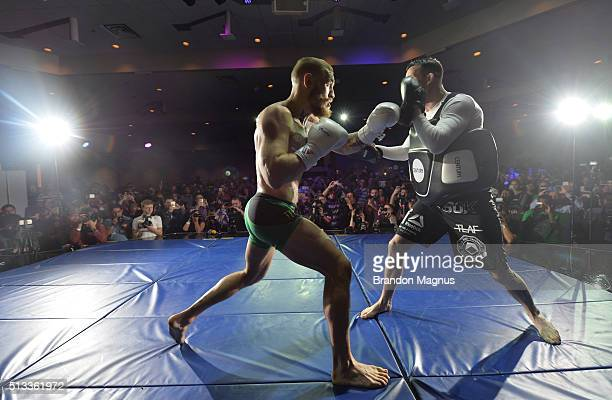 Featherweight champion Conor McGregor holds an open training session for fans and media at the Jabbawockeez Theater in the MGM Grand Hotel/Casino on...