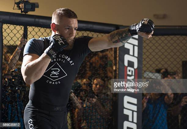 UFC featherweight champion Conor McGregor holds an open training session on August 12 2016 in Las Vegas Nevada