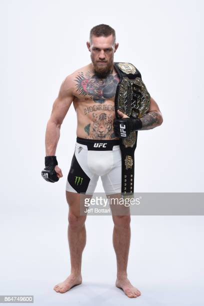 Featherweight champion Conor McGregor poses for a portrait during a UFC photo session on November 8, 2016 in New York City.
