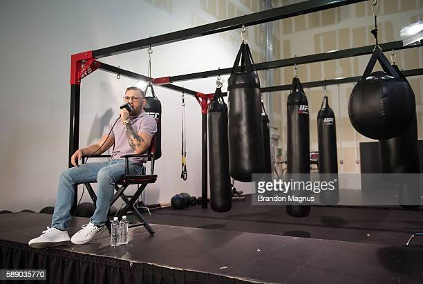 UFC featherweight champion Conor McGregor speaks to the media on August 12 2016 in Las Vegas Nevada