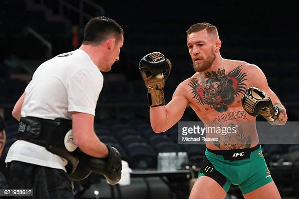 Featherweight Champion Conor McGregor takes part in UFC 205 Open Workouts at Madison Square Garden on November 9 2016 in New York City