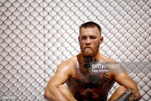 UFC featherweight champion Conor McGregor trains during an open workout at his gym on August 12 2016 in Las Vegas Nevada McGregor is scheduled to...