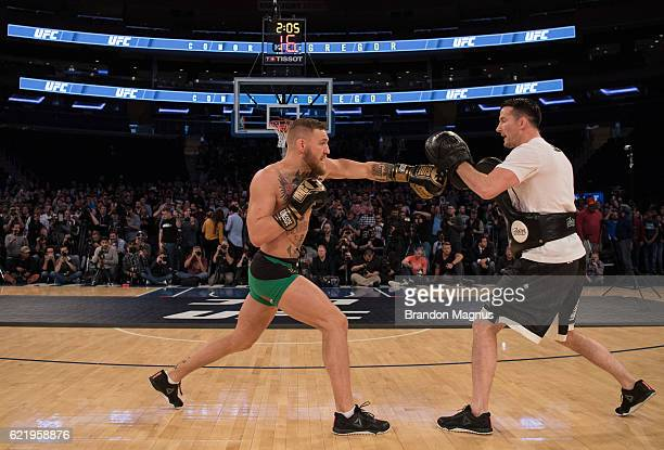 UFC featherweight champion Conor McGrregor of Ireland holds an open training session for the media and fans inside Madison Square Garden on November...