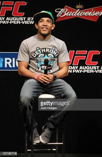 Featherweight Champion Jose Aldo attends a special QA session before the UFC 134 official weighin at HSBC Arena on August 26 2011 in Rio de Janeiro...