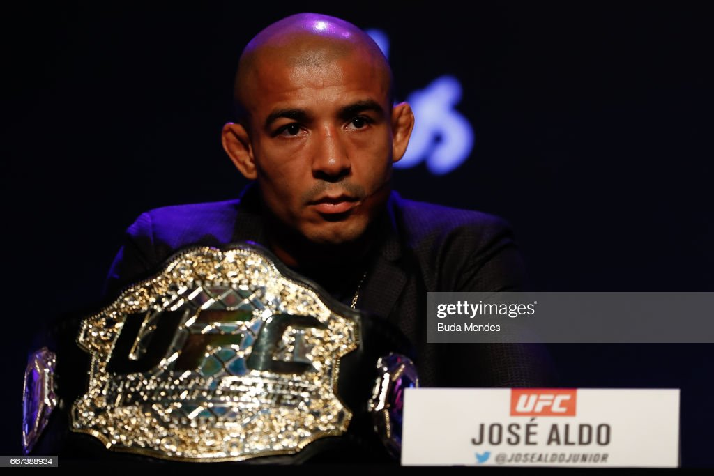 UFC Featherweight Champion Jose Aldo of Brazil attends the media during the UFC 212 press conference at Morro da Urca on April 11, 2017 in Rio de Janeiro, Brazil.