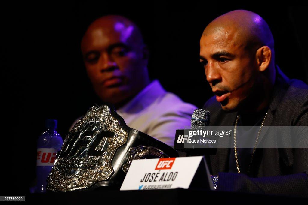 UFC Featherweight Champion Jose Aldo (R) of Brazil attends the media during the UFC 212 press conference at Morro da Urca on April 11, 2017 in Rio de Janeiro, Brazil.