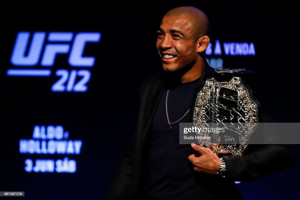 UFC Featherweight Champion Jose Aldo of Brazil smiles during the UFC 212 press conference at Morro da Urca on April 11, 2017 in Rio de Janeiro, Brazil.