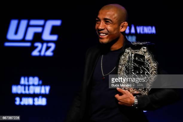 Featherweight Champion Jose Aldo of Brazil smiles during the UFC 212 press conference at Morro da Urca on April 11 2017 in Rio de Janeiro Brazil