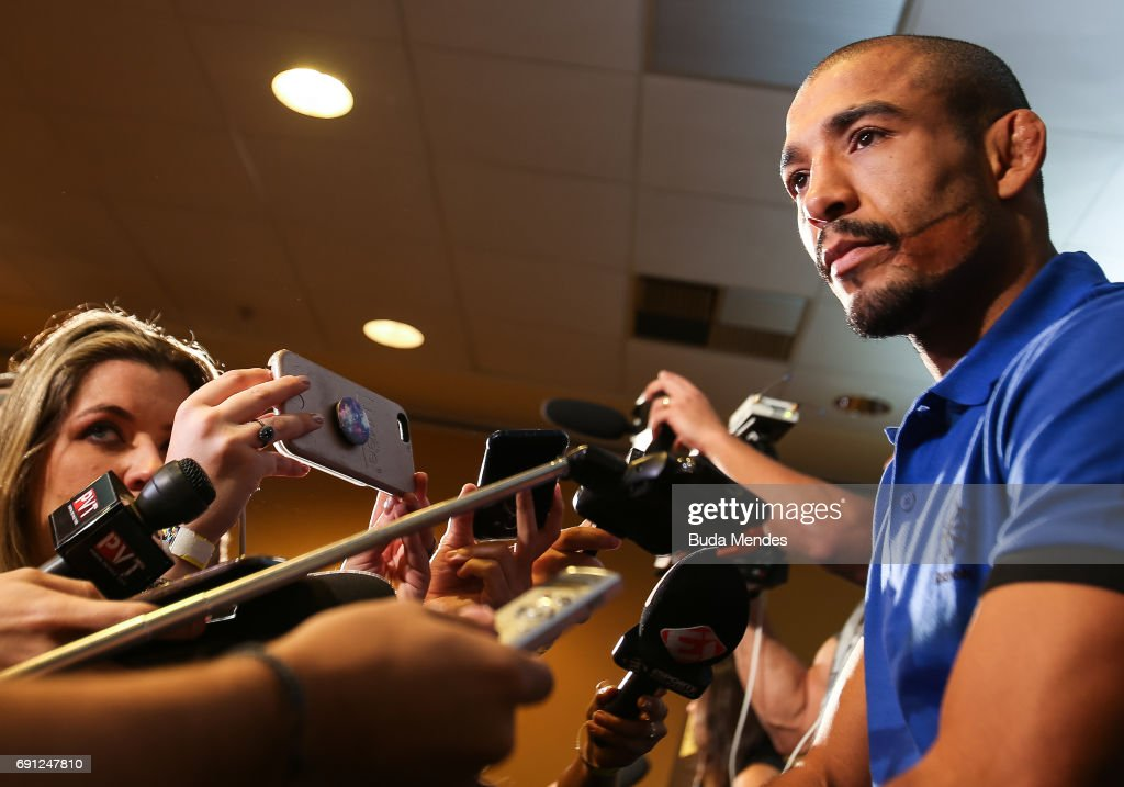 UFC featherweight champion Jose Aldo speaks to the media during Ultimate Media Day at Windsor Hotel on June 01, 2017 in Rio de Janeiro, Brazil.