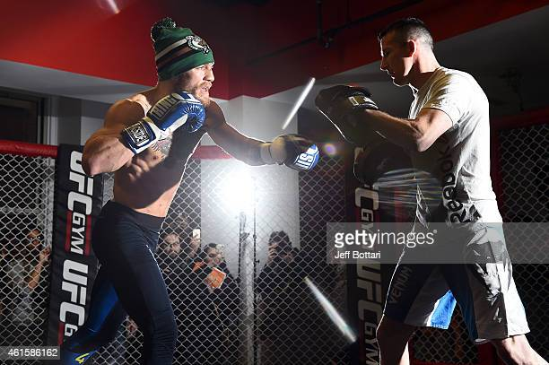 UFC featherweight Conor McGregor of Ireland holds an open training session for the media and fans at UFC Gym on January 15 2015 in Boston...