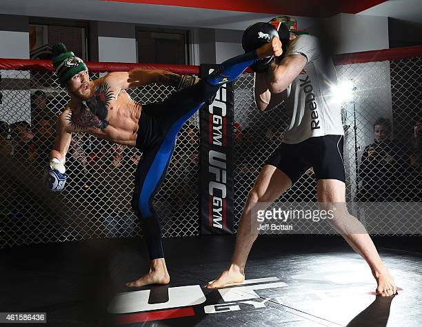 Featherweight Conor McGregor of Ireland holds an open training session for the media and fans at UFC Gym on January 15, 2015 in Boston, Massachusetts.