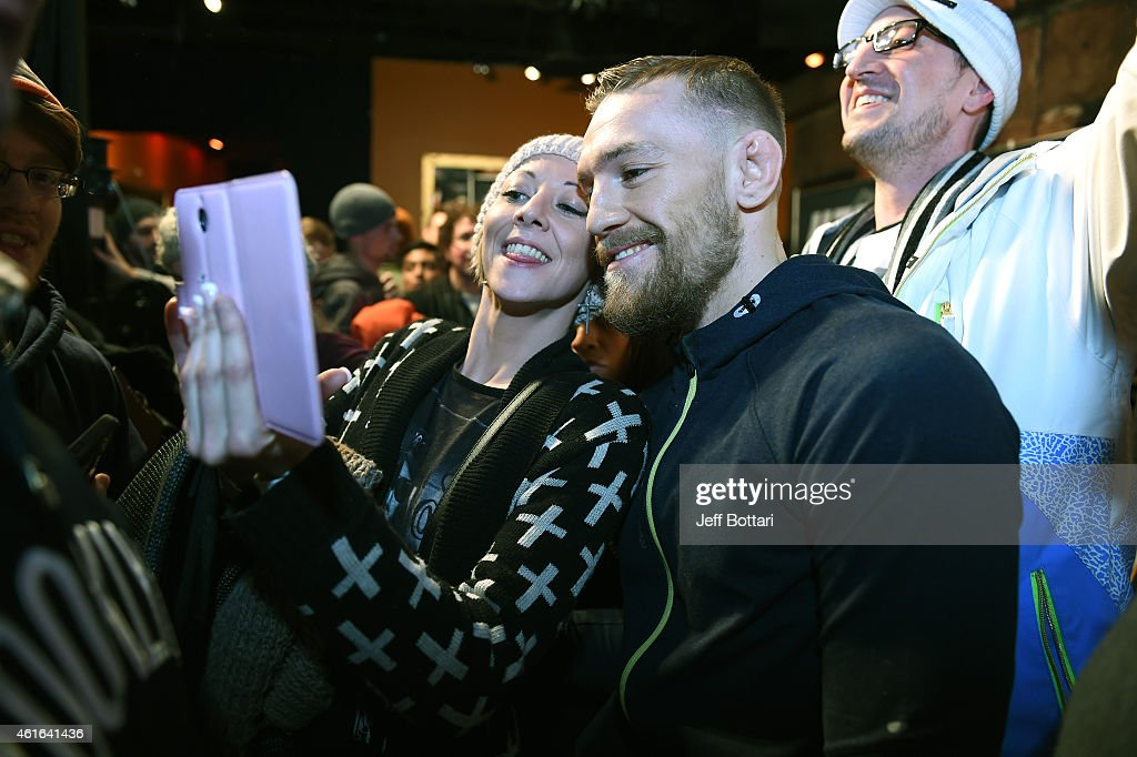 UFC featherweight Conor McGregor of Ireland interacts with fans at Faneuil Hall on January 16, 2015 in Boston, Massachusetts.