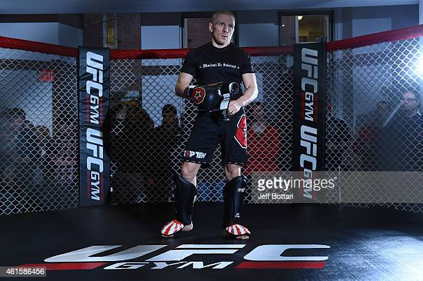 UFC featherweight Dennis Siver of Germany holds an open training session for the media and fans at UFC Gym on January 15 2015 in Boston Massachusetts