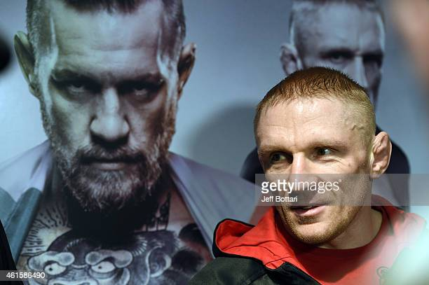UFC featherweight Dennis Siver of Germany speaks to the media after an open training session at UFC Gym on January 15 2015 in Boston Massachusetts