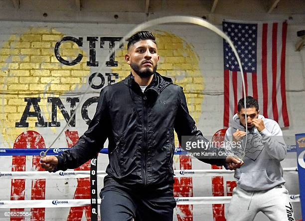 Featherweight fighter Abner Mares in the ring along with Josesito Lopez during a media day workout at the City of Angels Boxing Club for his upcoming...