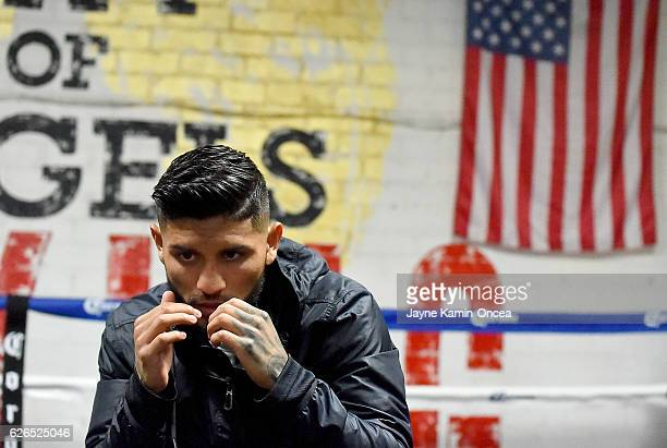 Featherweight fighter Abner Mares in the ring during a media day workout at the City of Angels Boxing Club for his upcoming fight against Jesus...