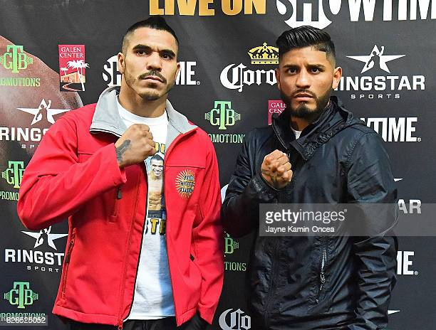 Featherweight fighters Jesus Cuellar and Abner Mares participated in a media day workout at the City of Angels Boxing Club for their upcoming fight...
