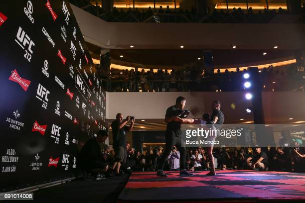 UFC featherweight interim champion Max Holloway of the United States holds an open training session at Barra Shopping on May 31 2017 in Rio de...