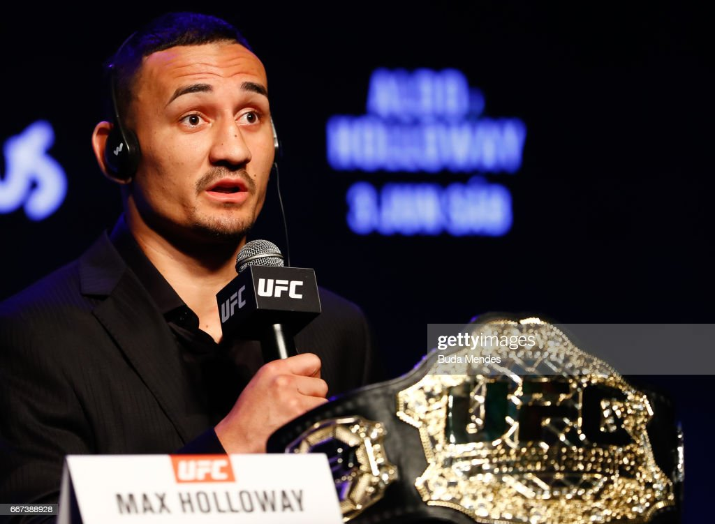 UFC Featherweight Max Holloway of the United States attends the media during the UFC 212 press conference at Morro da Urca on April 11, 2017 in Rio de Janeiro, Brazil.