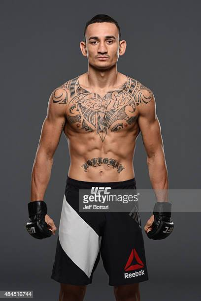 UFC featherweight Max Holloway poses for a portrait during a UFC photo session at the Saskatoon Inn Conference Centre on August 19 2015 in Saskatoon...