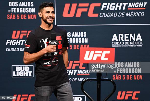 UFC featherweight Yair Rodriguez of Mexico interacts with fans during a QA session before the UFC weighin at the Arena Ciudad de Mexico on November 4...