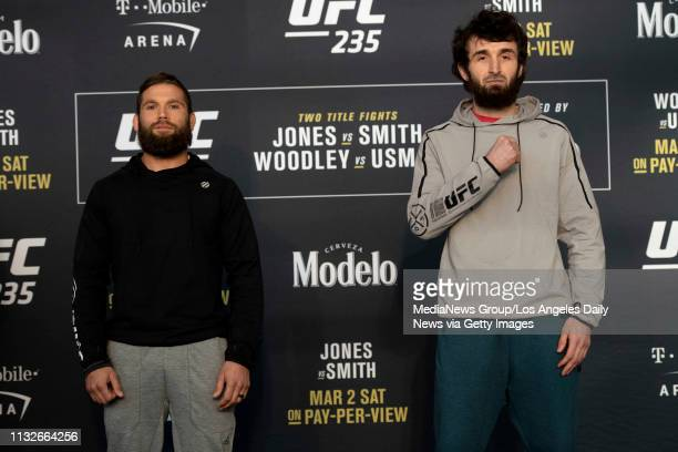 UFC featherweights Jeremy Stephens left and Zabit Magomedsharipov during UFC 235 Ultimate Media Day at the TMobile Arena in Las Vegas NV Wednesday...