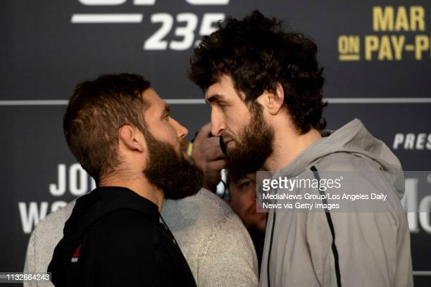 UFC featherweights Jeremy Stephens left and Zabit Magomedsharipov square off during UFC 235 Ultimate Media Day at the TMobile Arena in Las Vegas NV...