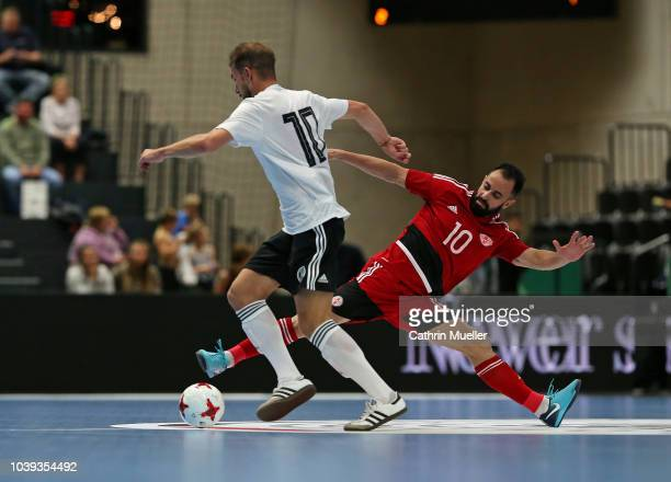 Feature feet and ball during the futsal international friendly match between Germany and Georgia at the edelopticsde Arena on September 24 2018 in...