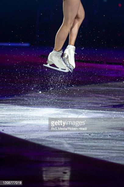 Feature image of skates of Alina Zagitova, Russian Olympic and world figure skater during the Art On Ice 2020 at Vaudoise Arena on February 11, 2020...