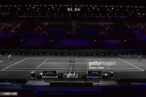 Feature images of the Centre Court during a practice session prior to the Laver Cup at Palexpo on September 17 2019 in Geneva Switzerland The event...