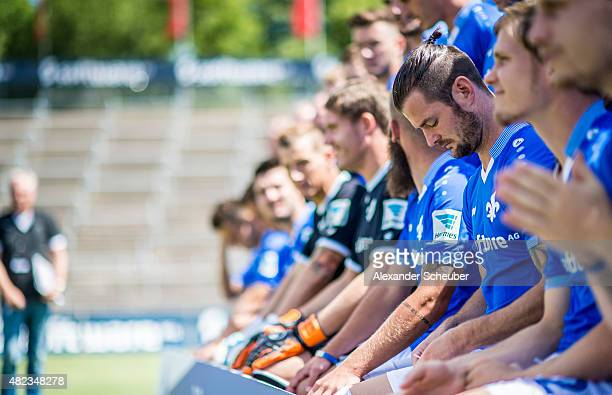Feature Marcel Heller during the team presentation of SV Darmstadt 98 at MerckStadion am Boellenfalltor on July 30 2015 in Darmstadt Germany