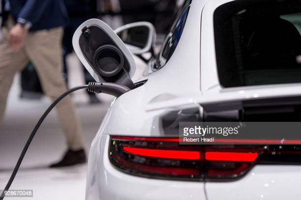Feature of the charging of the Porsche Panamera 4 E-Hybrid Sport Turismo at the 88th Geneva International Motor Show on March 7, 2018 in Geneva,...
