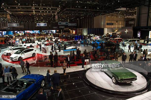 Feature of the Geneva Car Show hall at the 88th Geneva International Motor Show on March 7 2018 in Geneva Switzerland Global automakers are...